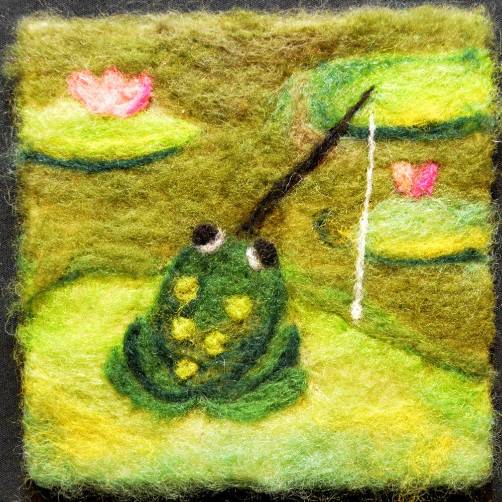 029 Frog Thyme Tile Needle Felting Pattern Kit by FiberThyme, $12.50