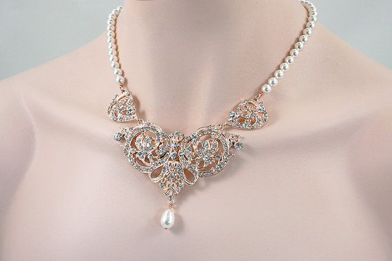 Elora - Rose Gold Bridal Necklace, Wedding Backdrop Necklace, Back Drop Crystal Pearl Necklace,  Victorian Style