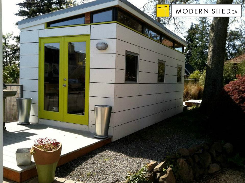 Modern shed design with fiber cement open joint siding for Modern house siding solutions