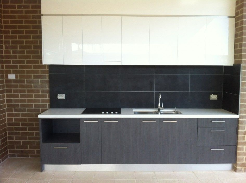 Chic Poly Outdoor Kitchen Cabinets With Stainless Steel Cabinet Pull  Handles And Black Ceramic Tile Kitchen