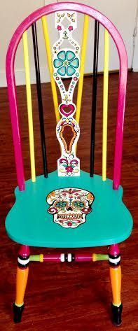 Hand Painted Custom Sugar Skull Wood Chair By WineMe On Etsy Más