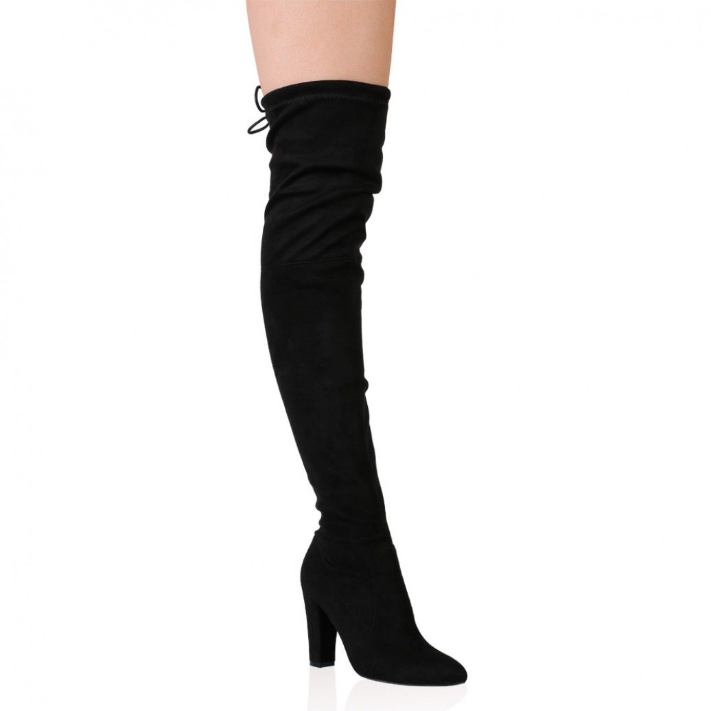 Janine Over the Knee Boots in Black Faux Suede. Great site for ...