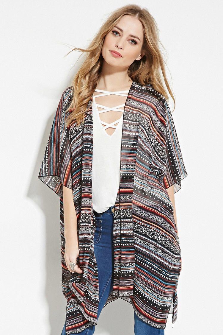 Sheer Geo-Stripe Kimono | forever 21 outfits | Pinterest | Striped ...