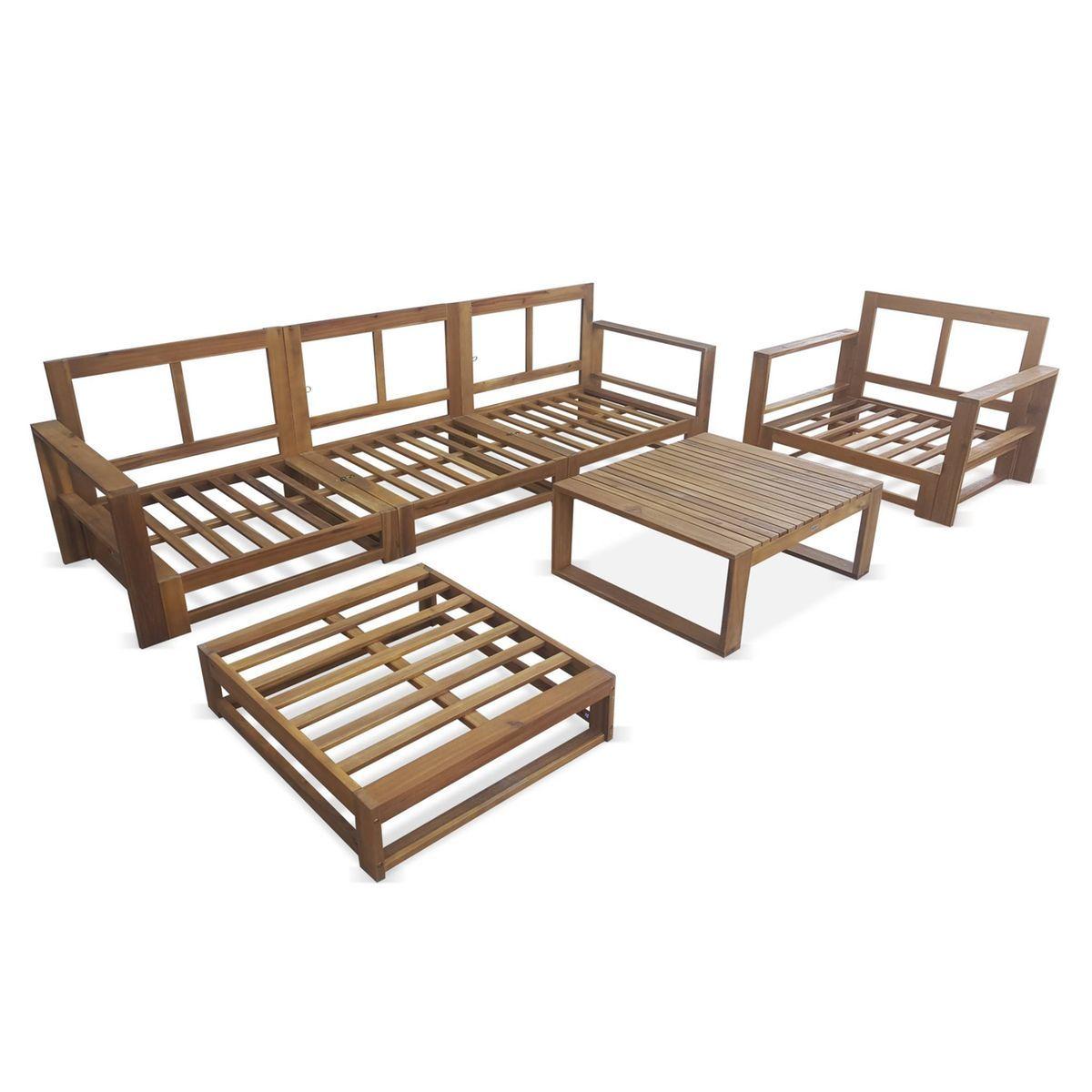 Salon De Jardin En Bois 5 Places Mendoza Coussins Beiges Canape Fauteuils Et Table Basse En Ac Taille Canape En Bois Salon En Bois Salon En Palettes