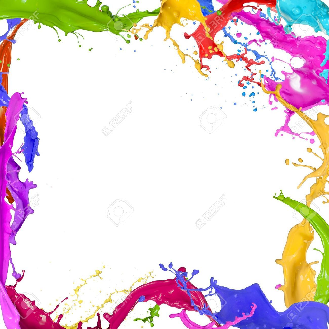White Backgrounds With Colorful Borders colourful paint...
