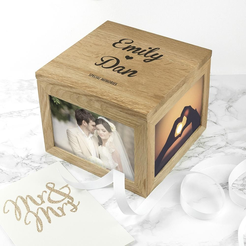 Personalised Oak Couple's Names Photo Cube Keepsake Box