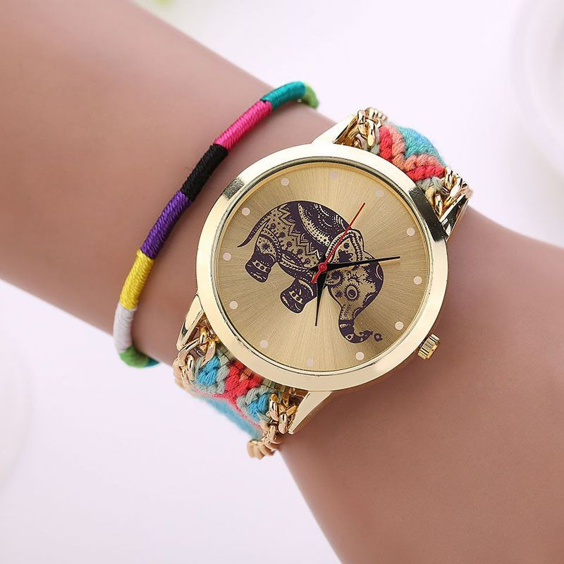 New Handmade Braided Elephant Print Watches ( 8 Different Colors ...