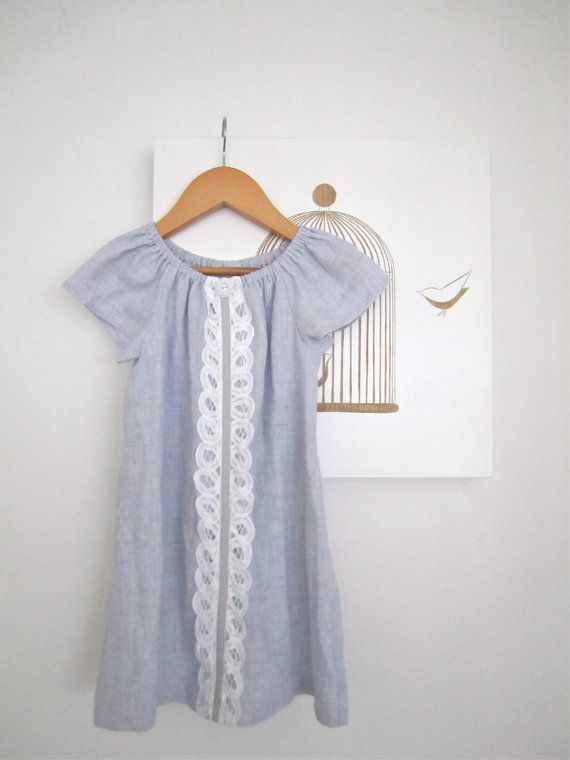 ed0b4f12ec2 Toddler Girls Blue Linen Dress-cotton lace-vintage button-baby spring beach  peasant dress-Handmade Children Clothing by Chasing Mini.  45.00