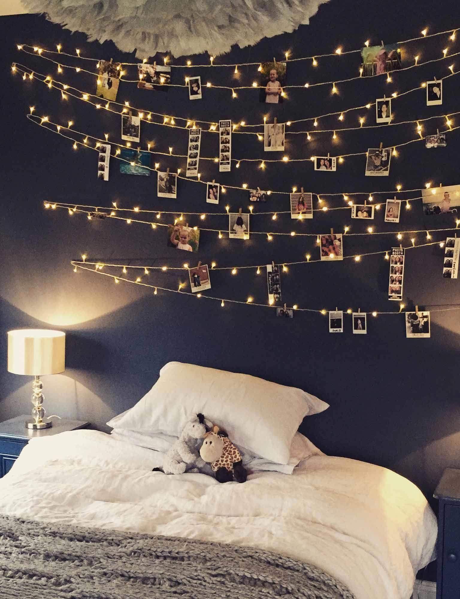 Diy Bedroom Fairy Light Wall Bedroomideasforsmallrooms