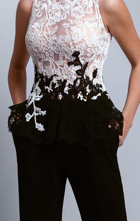 Beside Couture – BC1339 Lace Scalloped Jewel Crepe Jumpsuit