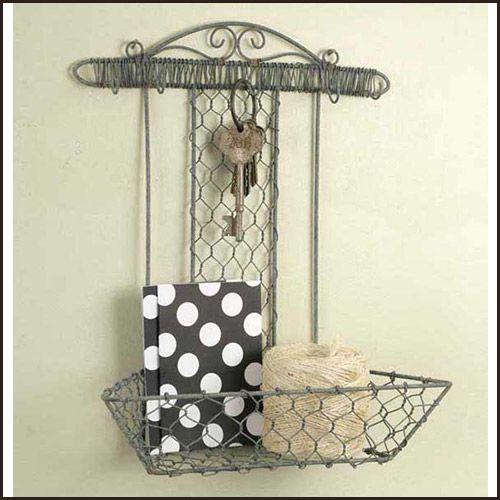 chicken wire trays   Chicken Wire Wall Basket with Hooks   chicken ...