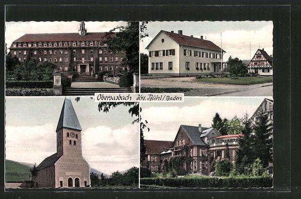 Alte Ansichtskarte: AK Obersasbach, versch. Ansichten