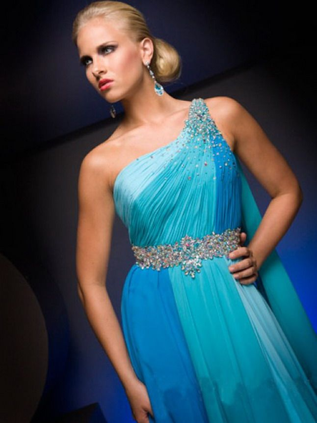 Blue Formal Dresses with Slit Leg