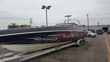 42 Excalibur Boat Wrap Ultimate Boat Wraps Red Silver