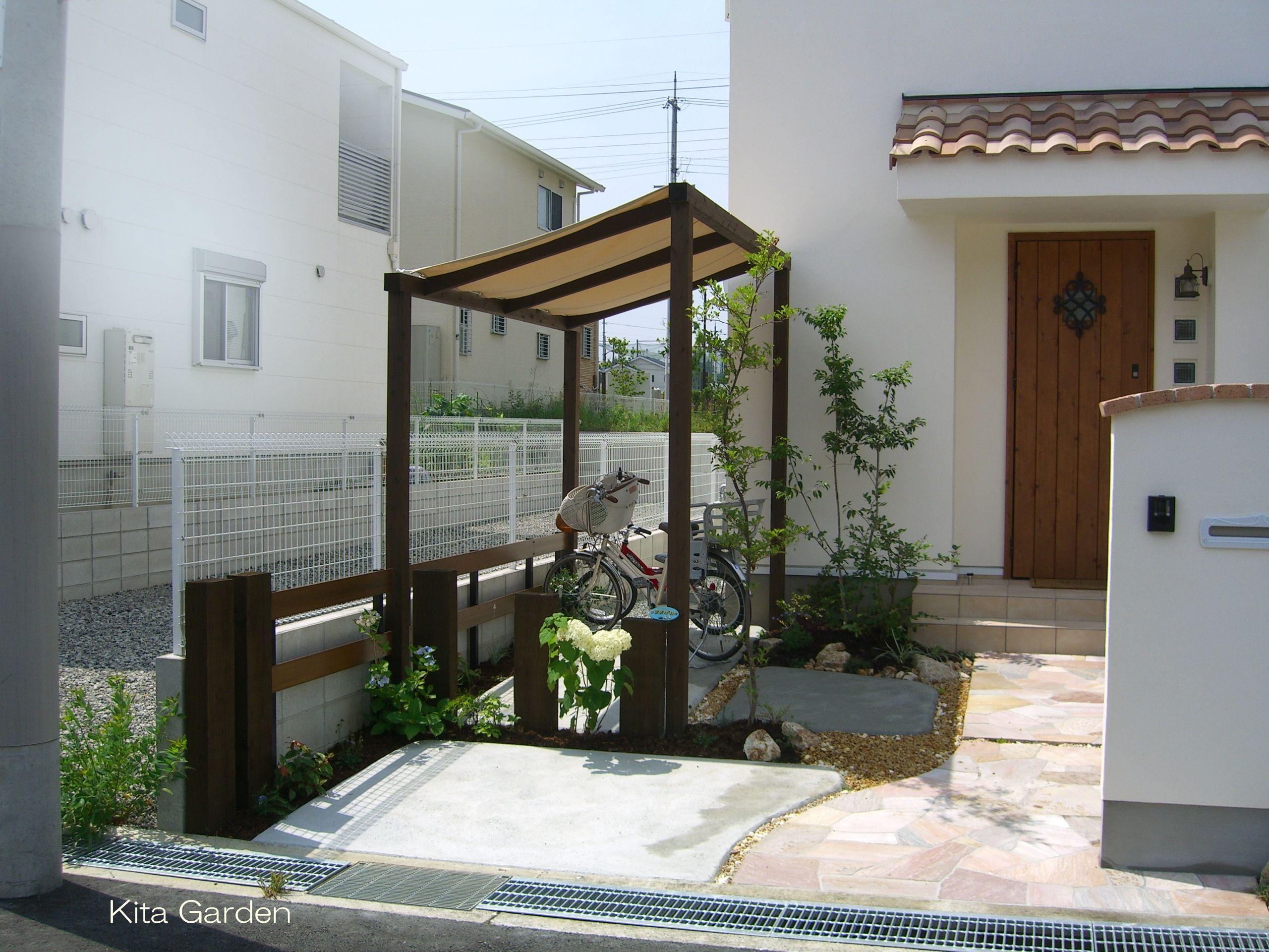 自転車置き場の屋根 自転車置き場 おしゃれ 自転車置き場 玄関アプローチ デザイン