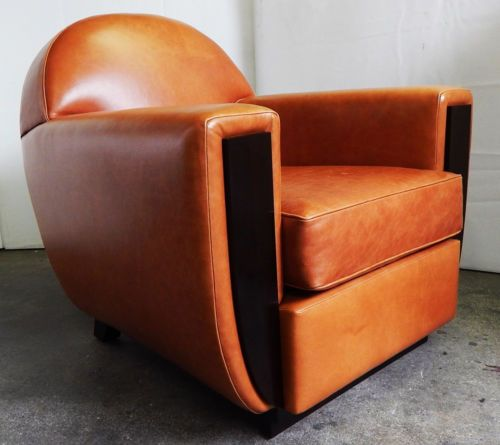 French Art Deco Leather Club Chair 1930 S Style Reproduction In Antiques Furniture Chairs Post 1950 Ebay