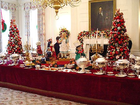 Large Buffet Tables Of Pastries Were Set Out In The State Dining Room For Guests To Enjoy