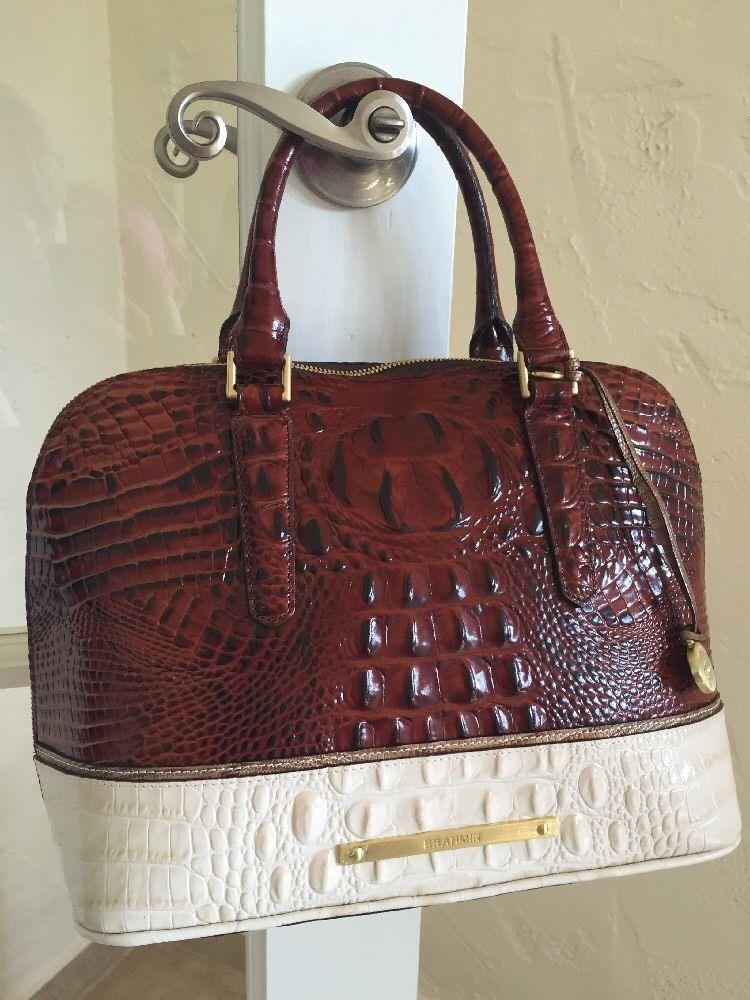 ec089abc5641 Brahmin Vivian Coquette Tri Texture Croc Embossed Leather Satchel Medallion