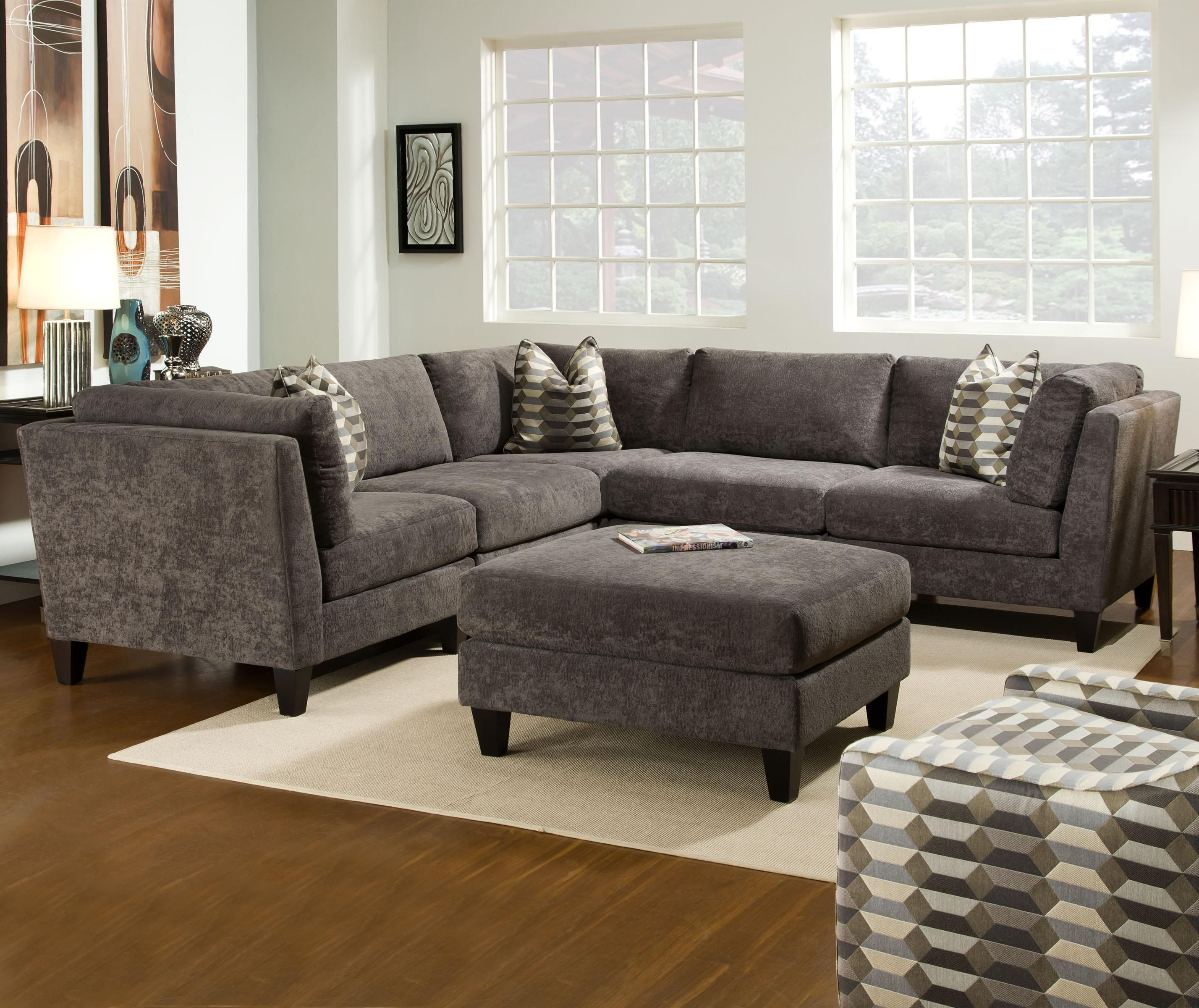 McGraw Contemporary Sectional with Tapered Legs by Bauhaus