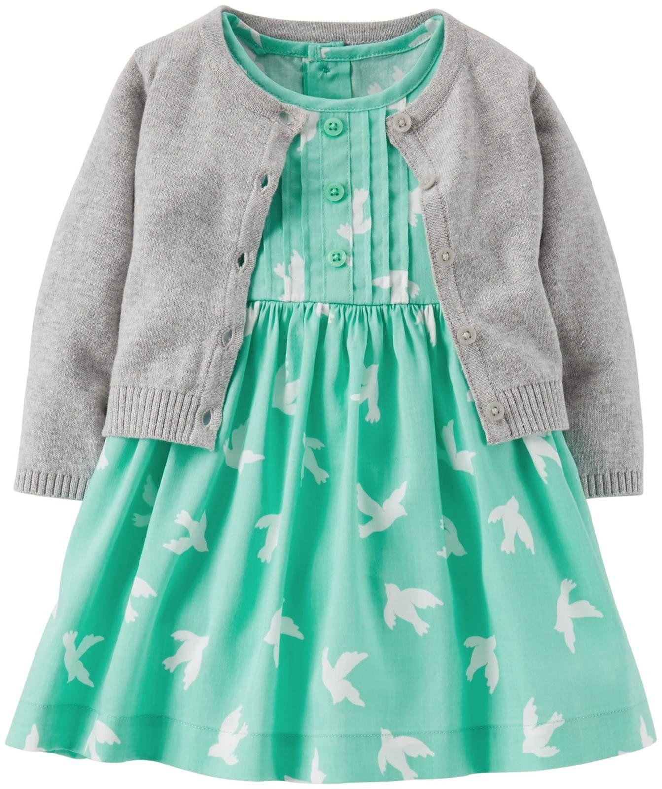 Carter's 2 Piece Cardigan/Dress Set (Baby) - Turquoise - Free Shipping