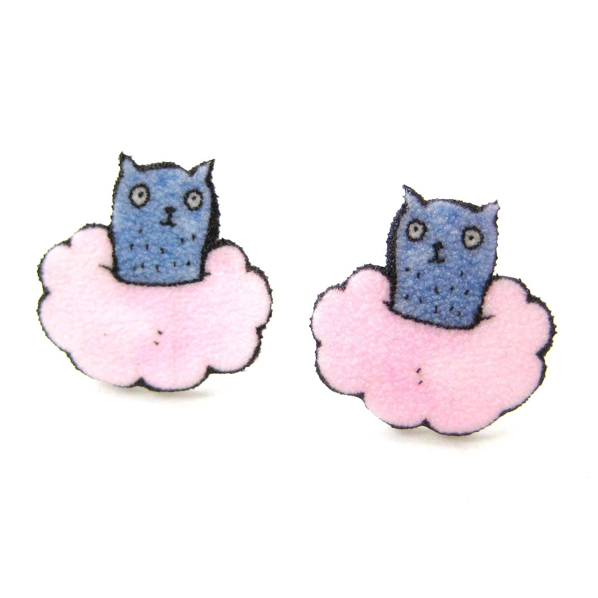 Cute Kitty Cat On A Cloud Animal Stud Earrings | Handmade Shrink Plastic