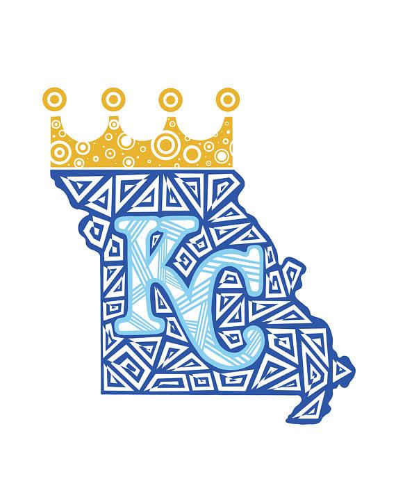 kansas city royals zentangle print kc