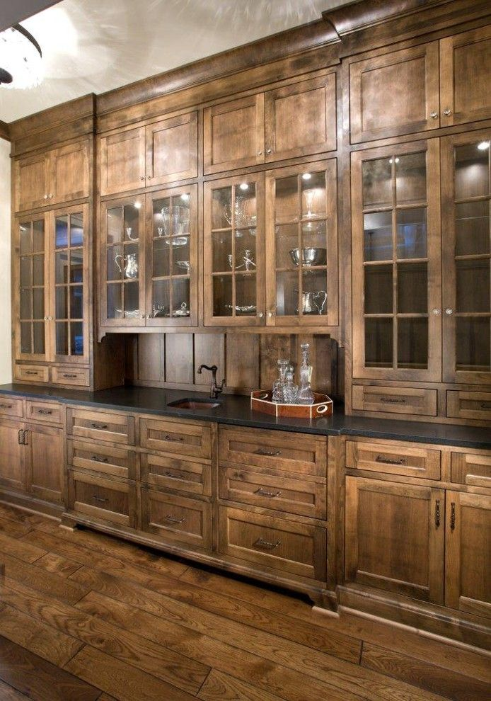 Stain Colors For Cabinets Kitchen Craftsman With Barware Butlers Pantry  Dining