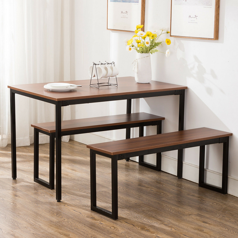 Superb Dining Table And 2 Dining Benches Furniture Set Rectangular Machost Co Dining Chair Design Ideas Machostcouk