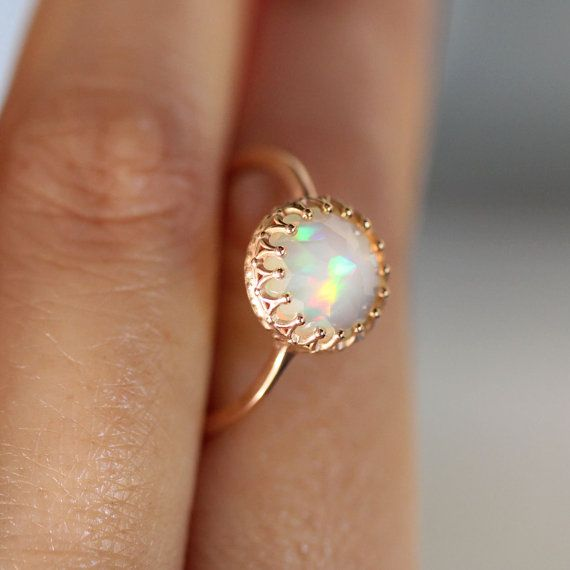 Rose Cut Opal In 14k Gold Ring Recycled Gold Eco Friendly Gold