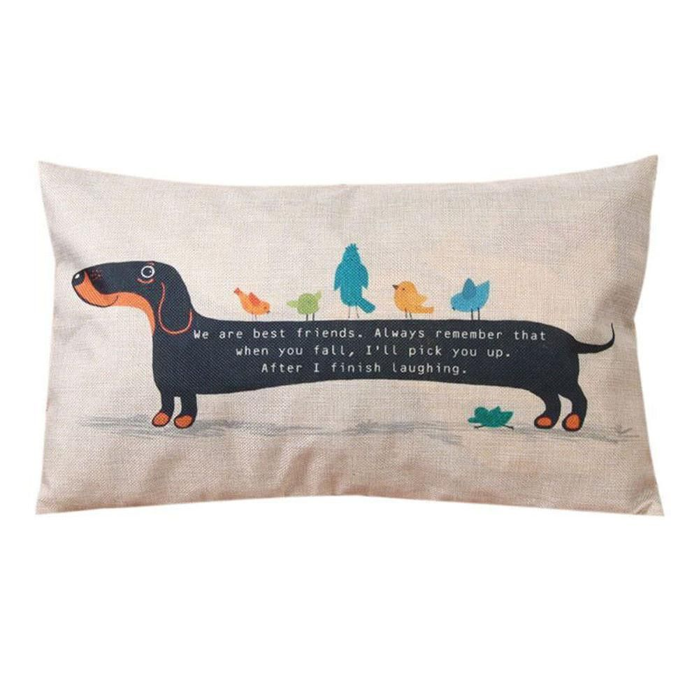 Cotton linen pillow cases sofa rectangle dog puppy cushion cover