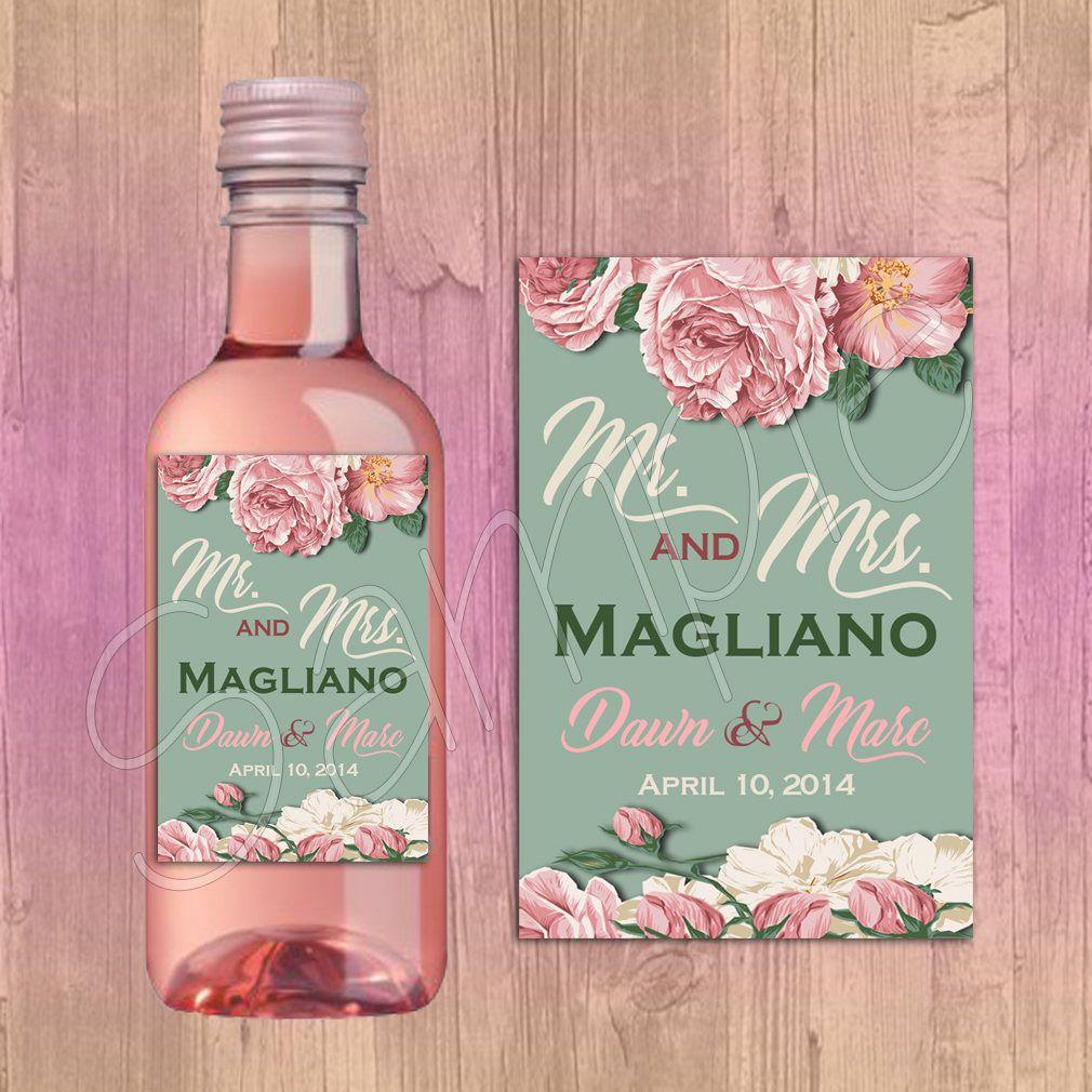 Mini Wine Bottle Labels -Mr. and Mrs. - Bridal Shower Wedding Favors ...