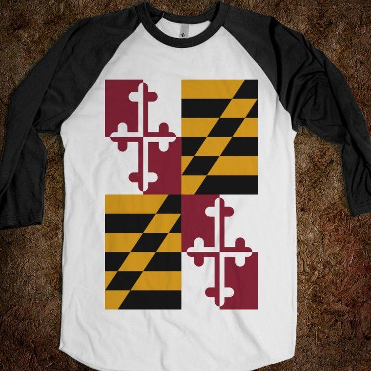 Maryland state flag raglan / three quarter baseball sleeve t-shirt.