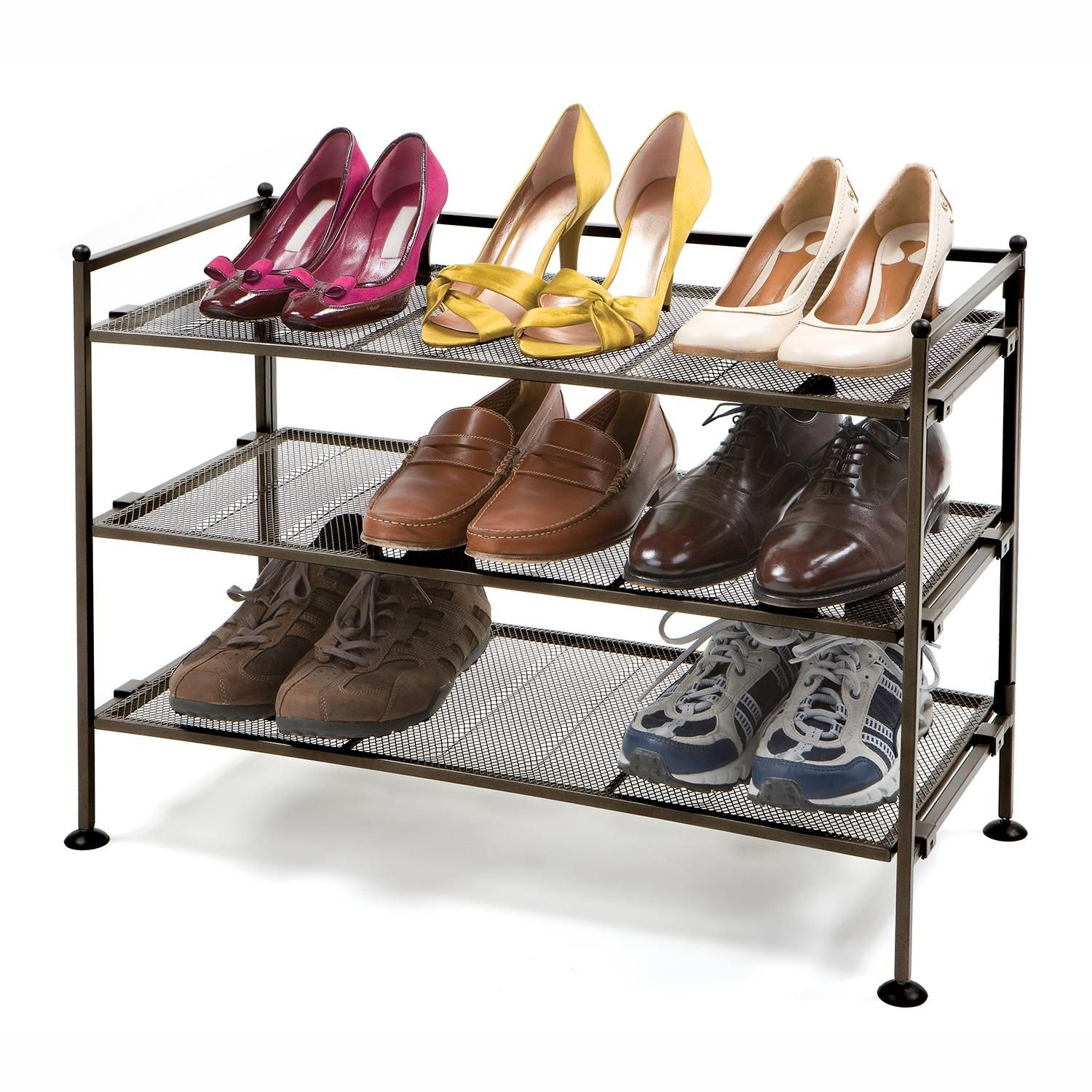 Amazon seville classics tier iron mesh utility shoe rack