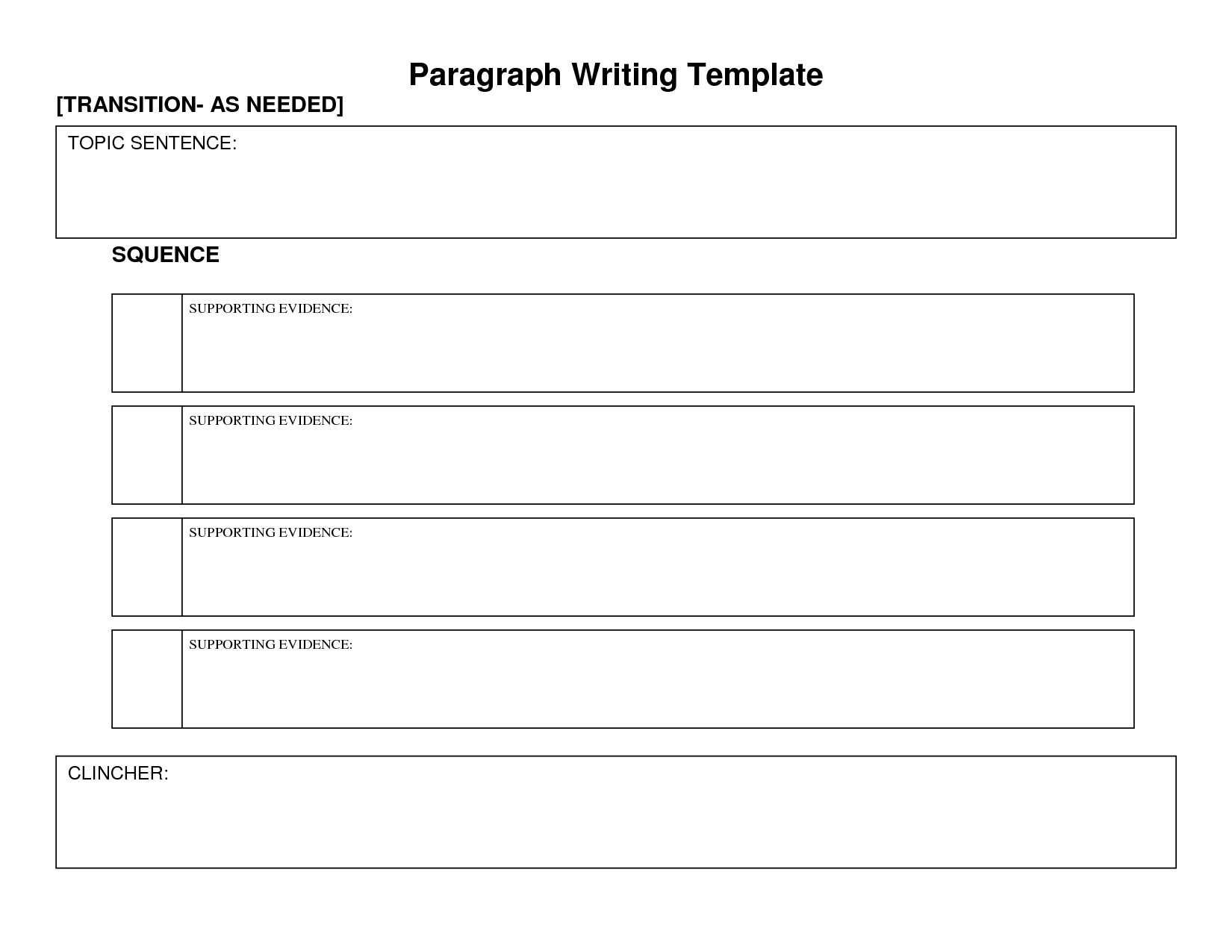 Body Paragraph Graphic Organizer