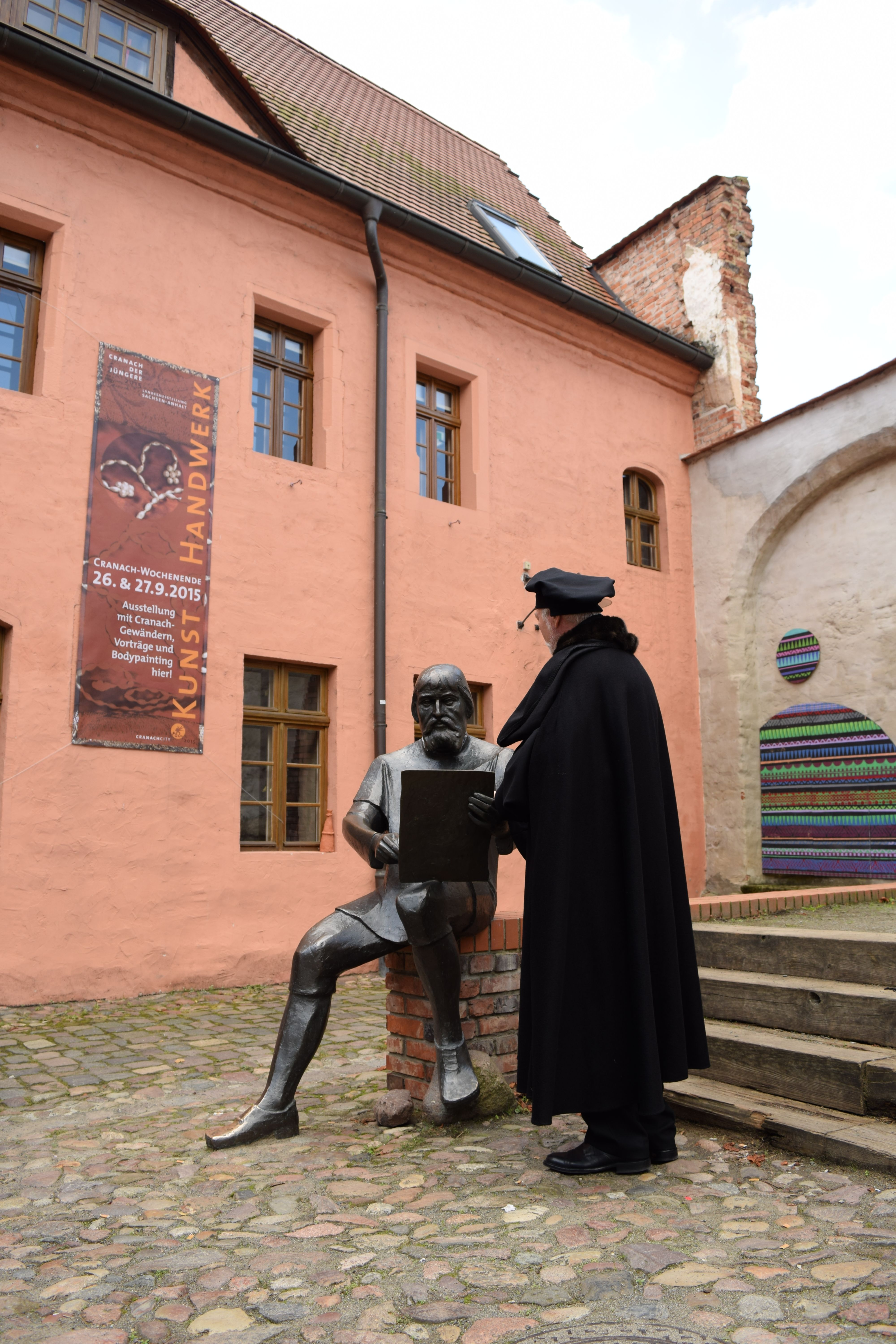 Luther found a statue of his dearest friend, Lucas Cranach the Elder, who painted portraits of Luther and his wife. He was pleased to find that the Cranach Courtyards and Cranach House are now home to a great exhibition with many of Cranach's paintings and authentic exhibits.