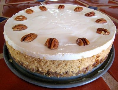 Pumpkin Cheesecake with Bourbon-Sour Cream Topping