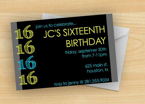 bold and bright boy s 16th birthday party invitation by madebybree
