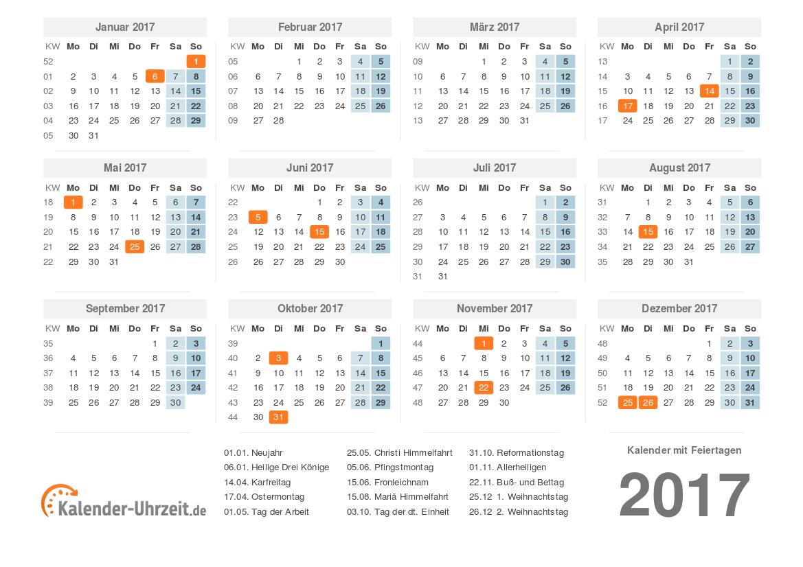 Kalender 2017 mit Feiertagen zum Ausdrucken - PDF-Vorlage 1 ...