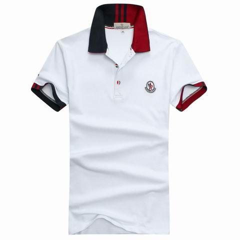 ec7b3e342d48 Moncler Men stand collar white T-shirt MW201503126