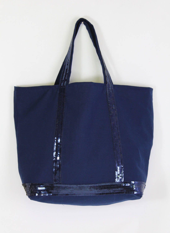 0e50955dfdc Vanessa Bruno style cabas toile de coton bleu marine fait main avec  véritables sequins bleu marine