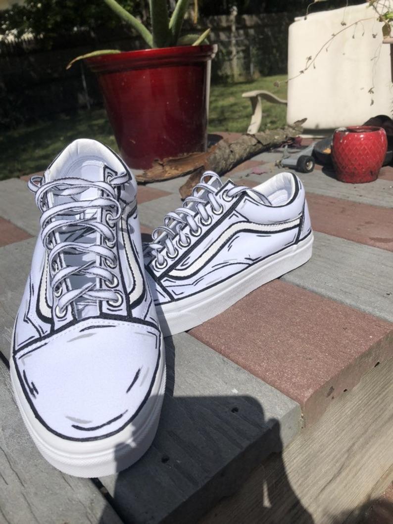 Classic Old Skool Cartoon Vans Etsy Custom Vans Shoes Diy Shoes Custom Painted Shoes