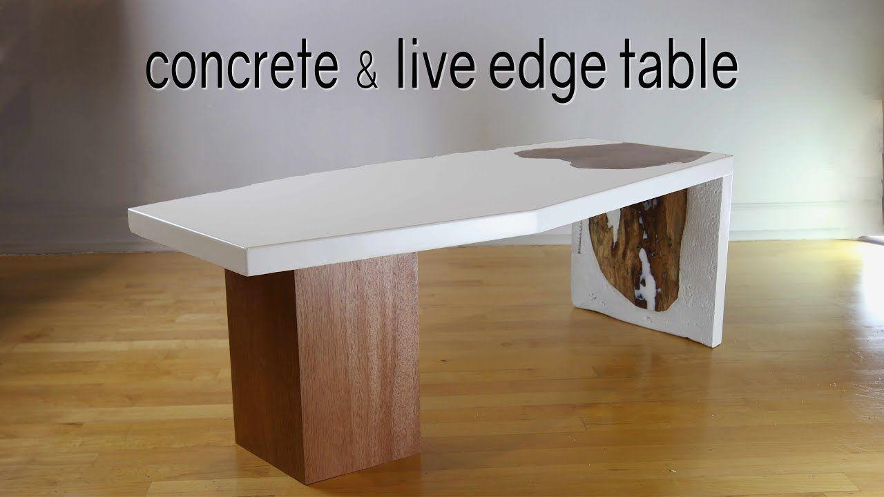 Diy concrete liveedge waterfall table how to make w