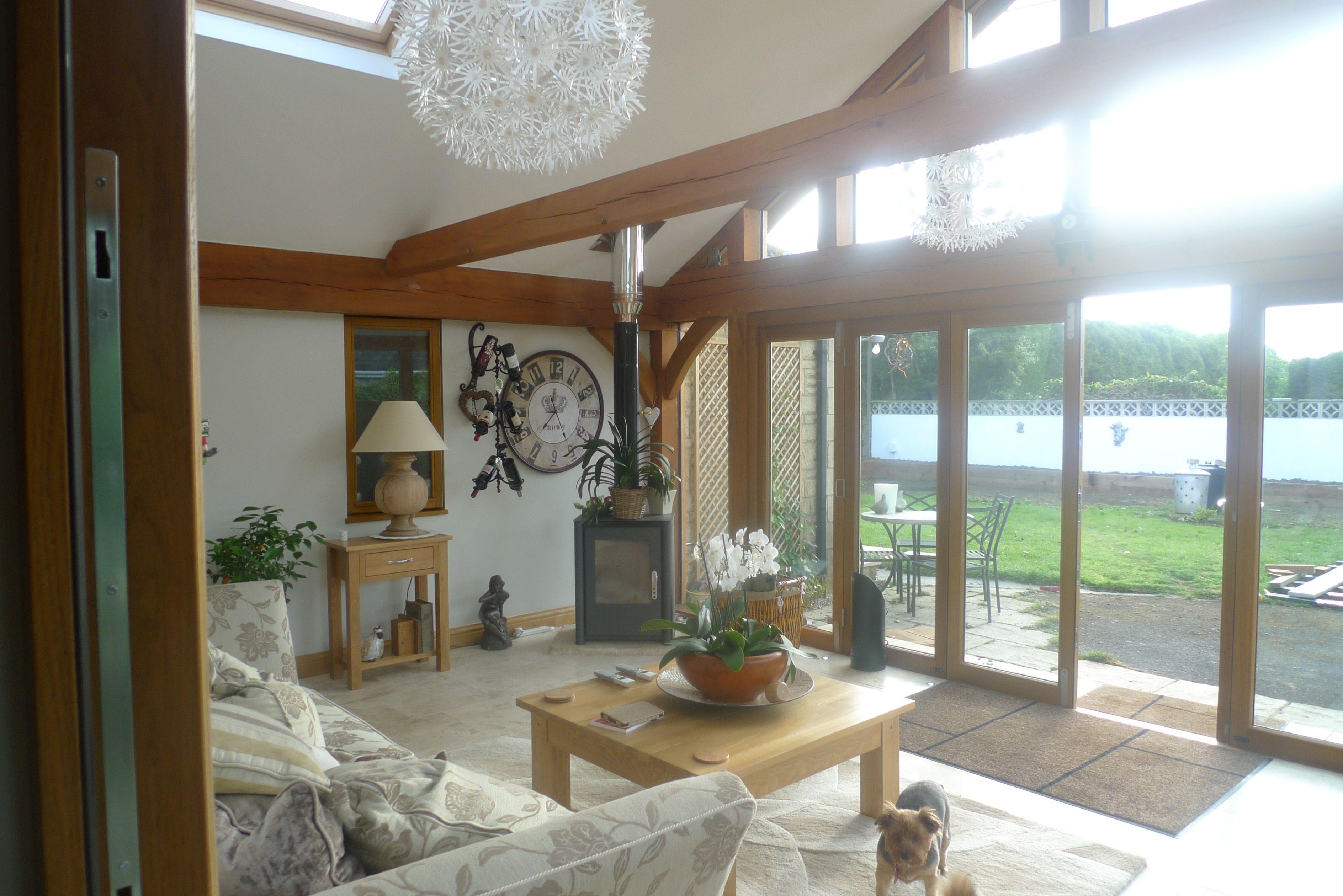 A Cosy Oak Framed Garden Room with log burner