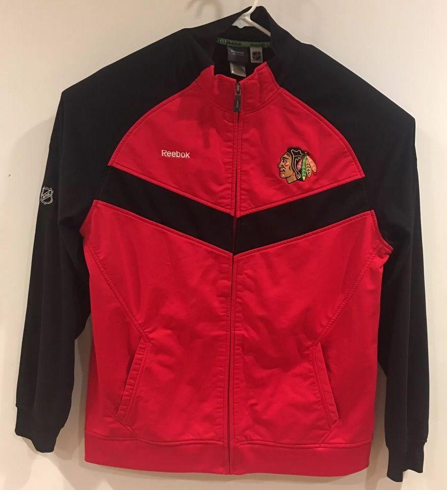 d2a6fa8270380 Chicago Black Hawks Full Zip Hockey Jacket Reebok Center Ice Collection Men  2XL | eBay