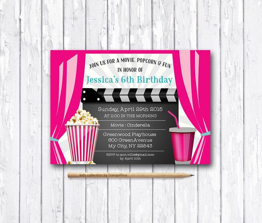 Movie Party Invitation Printable, Movie Birthday Invitation ...