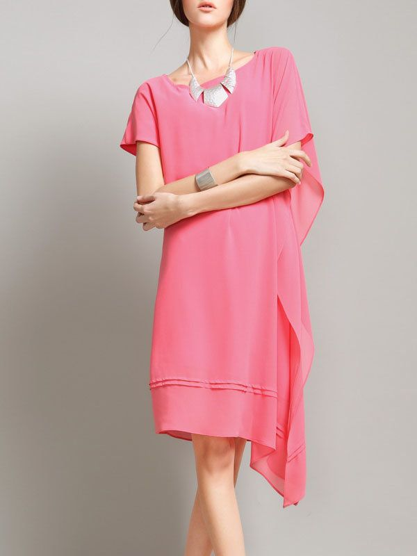 Pink Shift Raglan Sleeve Asymmetric Midi Dress - AdoreWe.com
