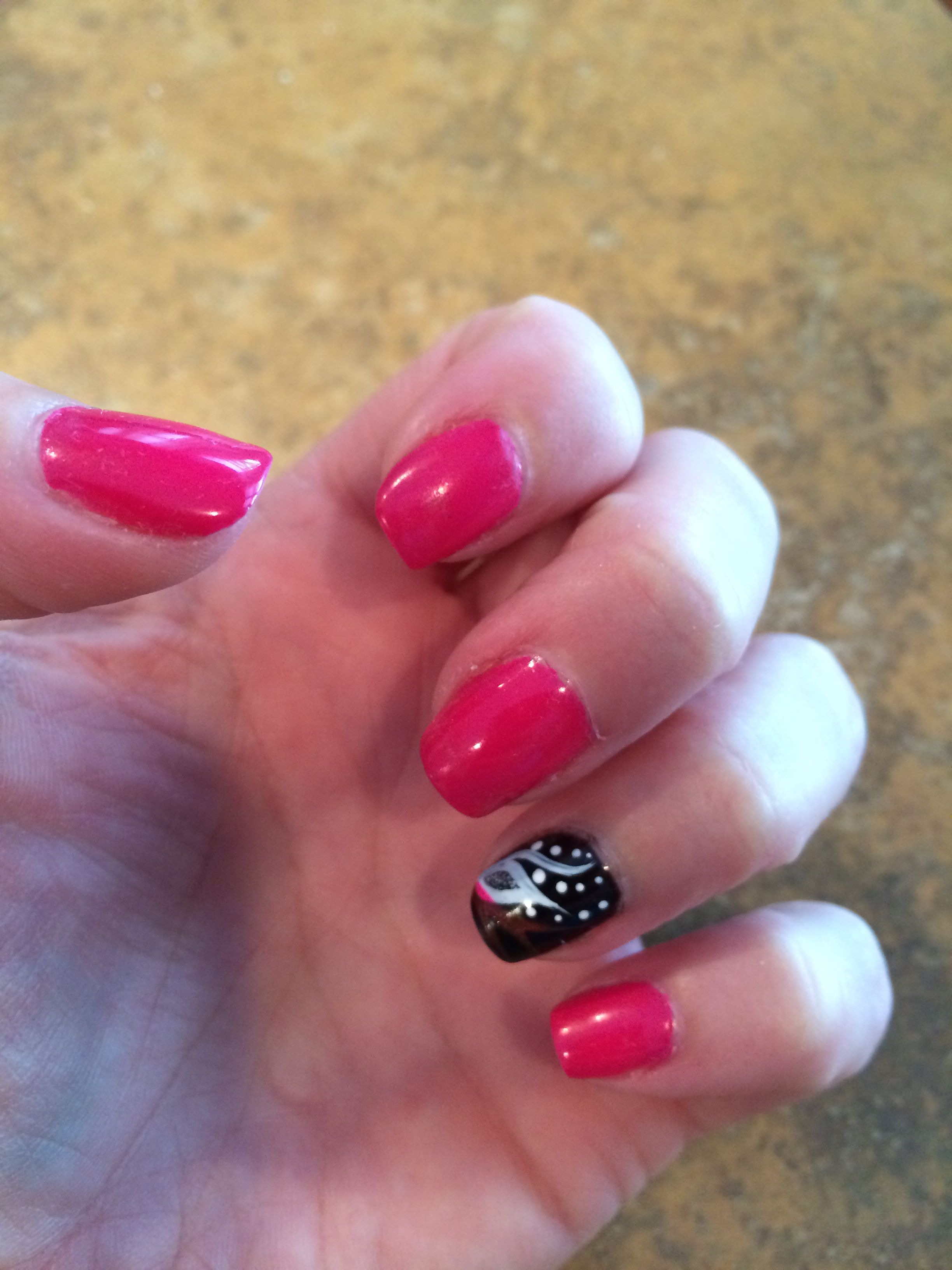 Raspberry Pink Nails Black With Flower Design Nails Pinterest