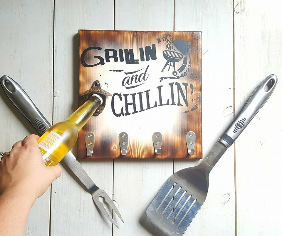 Grillin 39 and chillin 39 wood sign grilling gift beer - Grill utensil storage ideas ...