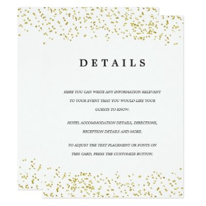 Faux gold confetti modern wedding details card wedding faux gold confetti modern wedding details card wedding invitations cards custom invitation card design stopboris Image collections