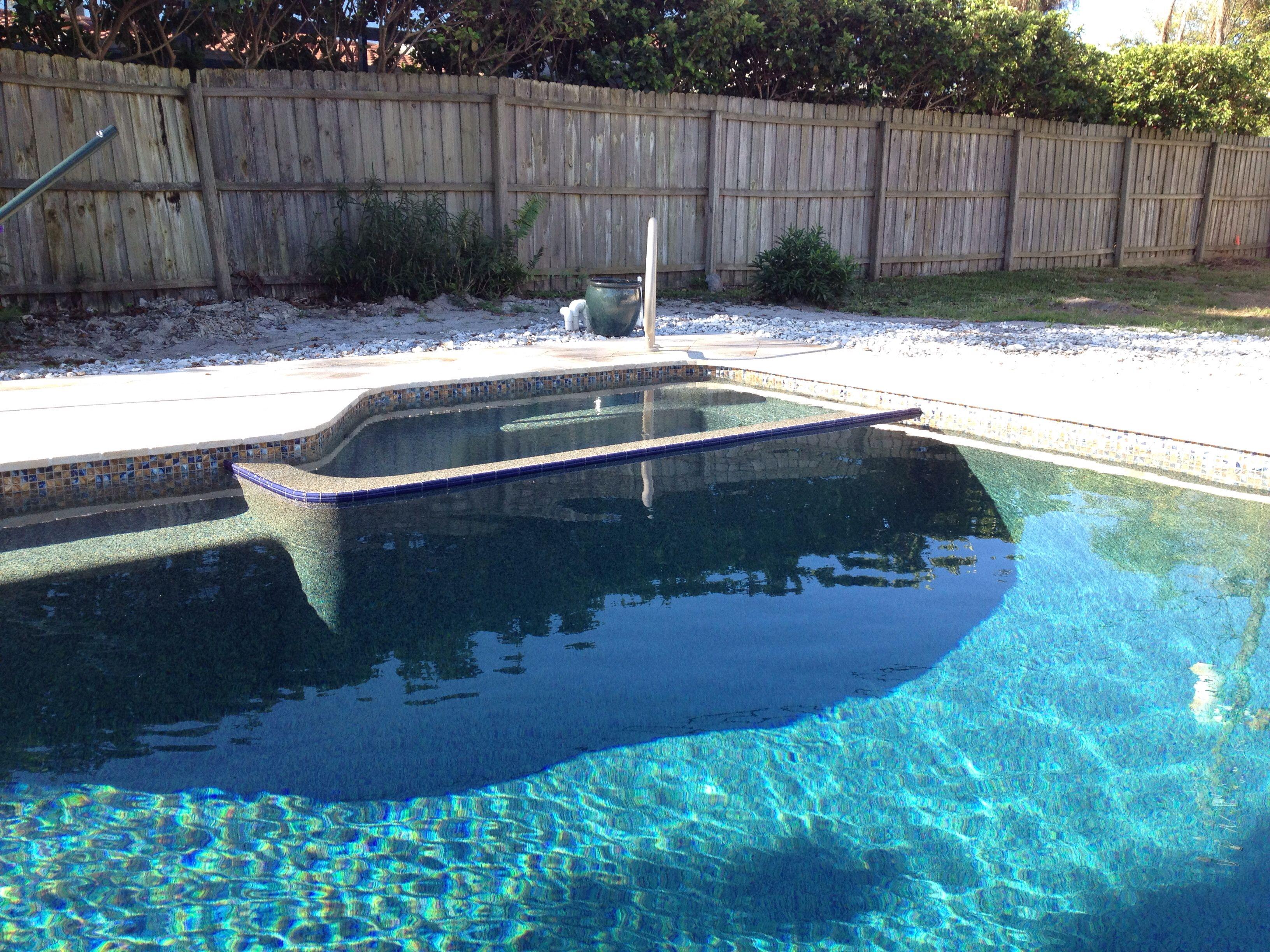 New Pool With Flush Edge Spa Pebble Tec Tahoe Blue Interior - Black pearl pebble tec pool bottom